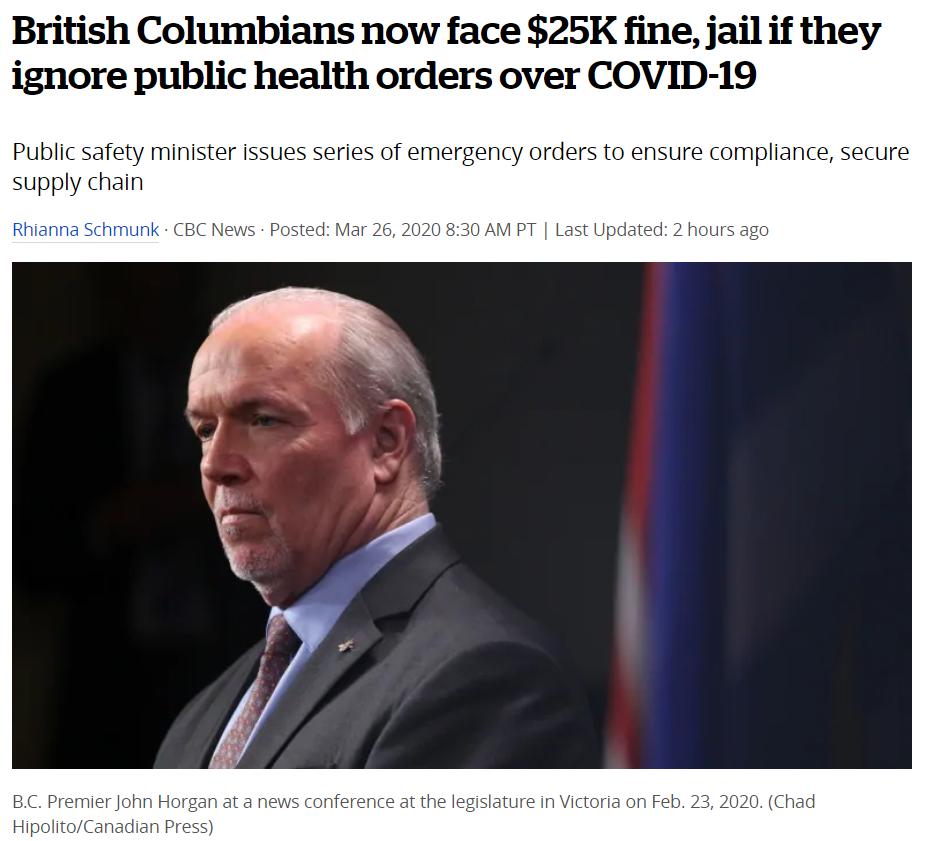突发! BC新增66例 加拿大破4千! 朋友圈卖口罩 或罚款$1万坐牢1年!