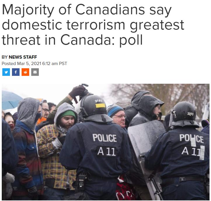 别笑美国! 70%加拿大人: 本国恐怖主义更可怕! 威胁国民安全! 社会 第1张